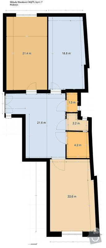 Rekonstrukce topení a plynu, byt 3+kk, 94m²: Pudorys_Milady_Horakove_382-75_2_