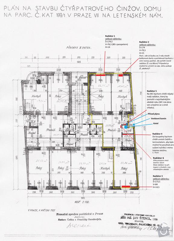Rekonstrukce topení a plynu, byt 3+kk, 94m²: Pudorys_Milady_Horakove_382-75_Topeni