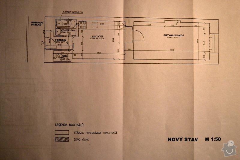 Rekonstrukce koupelny, WC a položení keramické dlažby v kuchyni: nakres_soucasny_stav