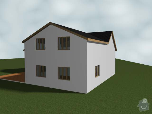 Dostaveni zdi, plus krov a napojeni na stavajici strechu. Dodelani podlahy na nosnou konstrukci z Hurdisek. Terasy.: 2