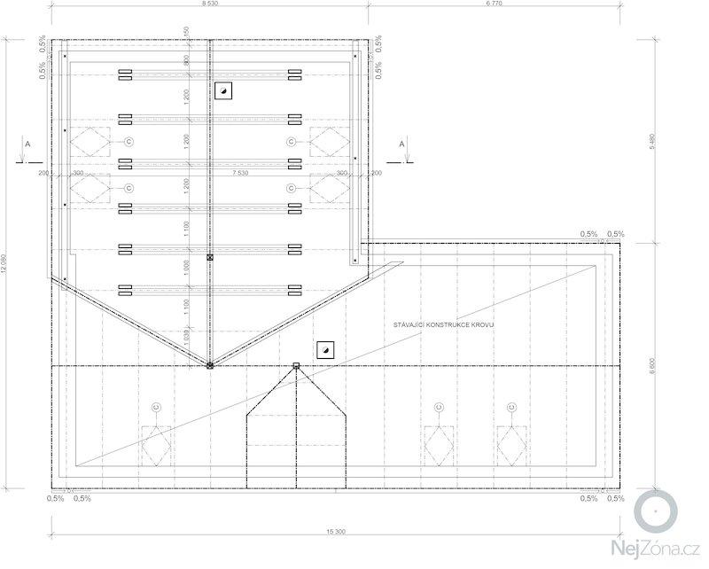 Dostaveni zdi, plus krov a napojeni na stavajici strechu. Dodelani podlahy na nosnou konstrukci z Hurdisek. Terasy.: krov