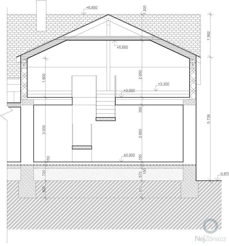 Dostaveni zdi, plus krov a napojeni na stavajici strechu. Dodelani podlahy na nosnou konstrukci z Hurdisek. Terasy.: rez