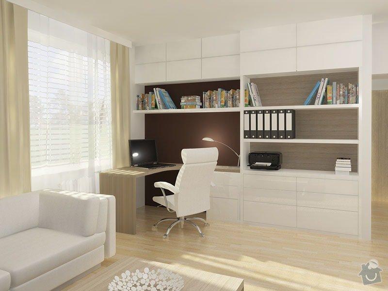 Návrh rekonstrukce bytu 2+1 a řešení interiéru: 04_pracovni_misto_v_obyvacim_pokoji
