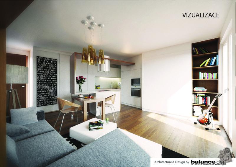 Kuchyňská linka, obývací stěna, dle zadání designového návrhu: vizualizace-01
