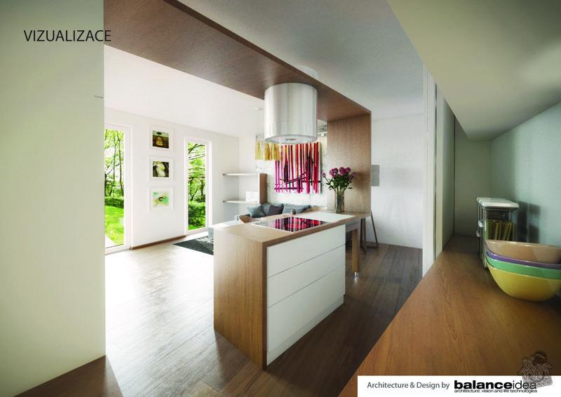 Kuchyňská linka, obývací stěna, dle zadání designového návrhu: vizualizace-02