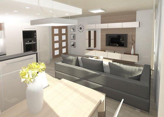 3D návrh kuchyně a obývacího pokoje