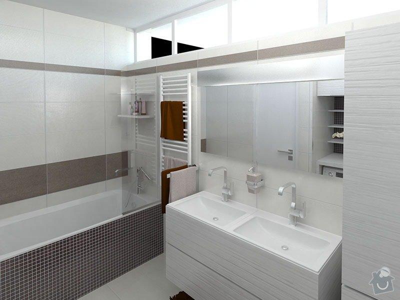 Moderní koupelna v neutrálních barvách: 02_-_koupelna_pohled_na_vanu_a_dvojumyvadlo