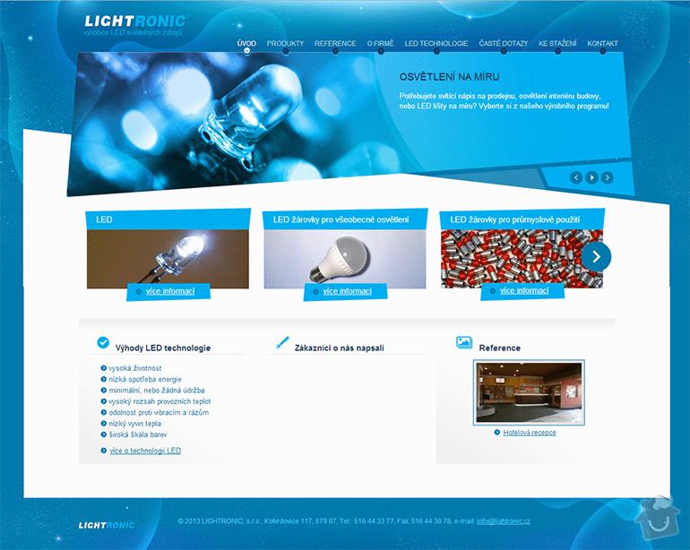 Tvorba www stránek pro výrobce LED světelných zdrojů: lightronic-1