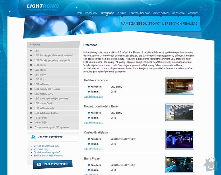 Tvorba www stránek pro výrobce LED světelných zdrojů: lightronic-2