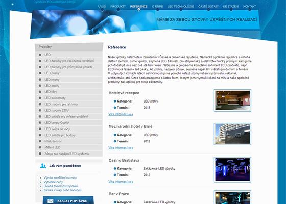 Tvorba www stránek pro výrobce LED světelných zdrojů
