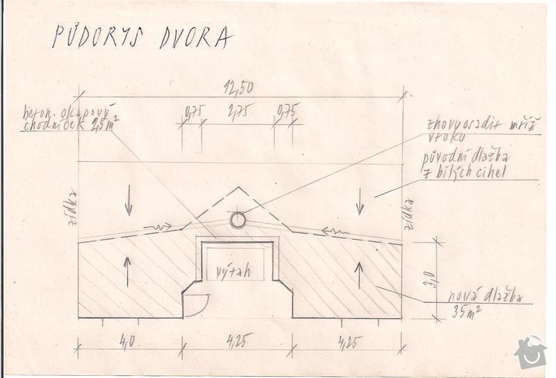 Odvodnění dvora- 35m2 dlažby,  20m2 nopkové folie: Dvur-navrh_PH