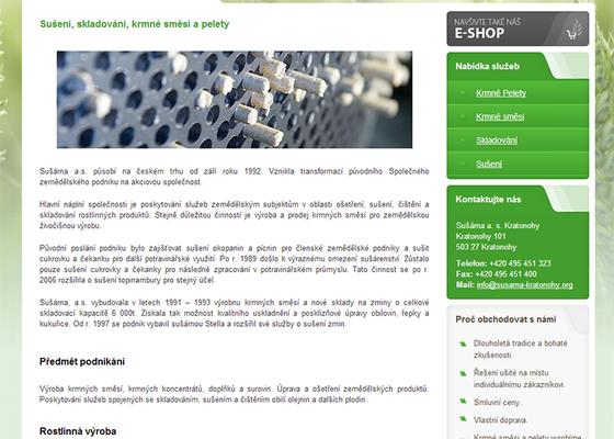 Tvorba www stránek a e-shopu pro Sušárna a. s. Kratonohy