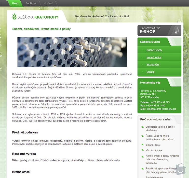 Tvorba www stránek a e-shopu pro Sušárna a. s. Kratonohy: susarna-1