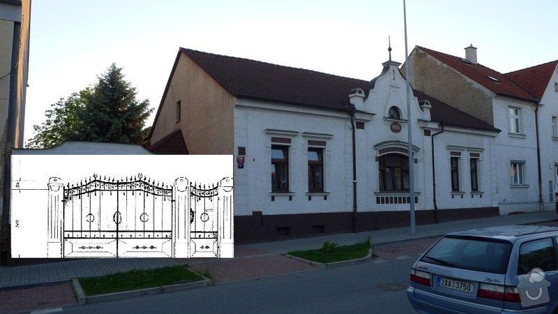 Poptávka výstavby masivního základu plotu a brány včetně sloupů se štokovými prvky, v případě spojenosti udělání ca. 40m2 dvoru z vymývané dlažby: priblizny_vzhled_s_domem