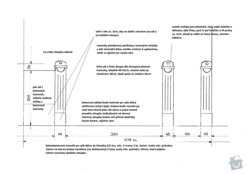Poptávka výstavby masivního základu plotu a brány včetně sloupů se štokovými prvky, v případě spojenosti udělání ca. 40m2 dvoru z vymývané dlažby: planek