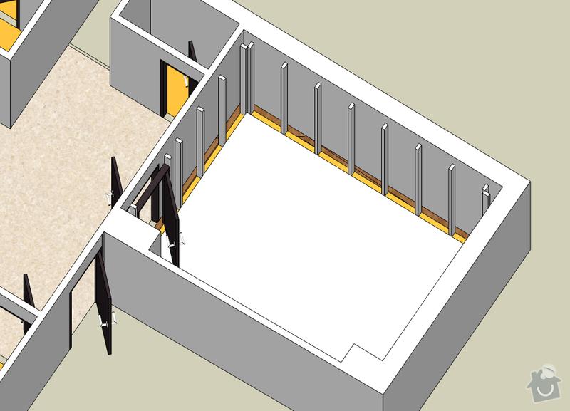 Vybudování konstrukce místnosti ze dřevěných trámů, (akustické příčky), akustická podlaha, sádrokarton.: NahravaciMistnost