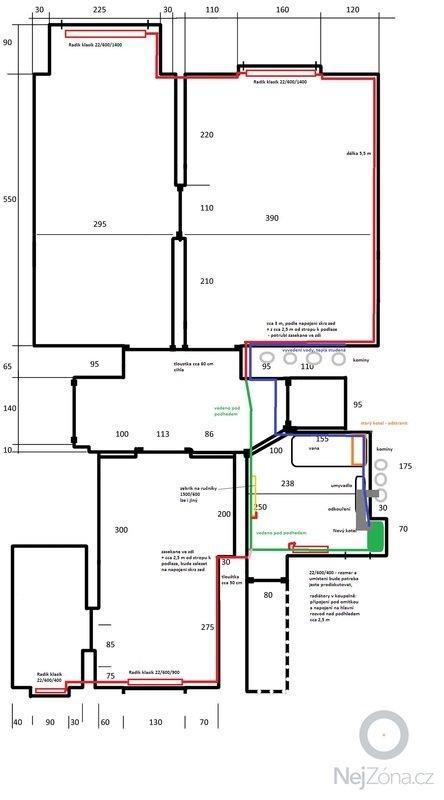 Topení - nová soustava, kondenzační kotel, rozvody vody a plynu: byt_topeni