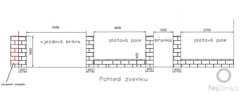 Plot cca. 11 metrů s bránou a brankou: Plot