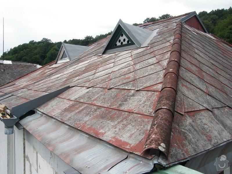 Oprava střechy.Výměnu eternitové krytiny za plastové šablony nebo plech.Opravy krovu a bedění: P8240043