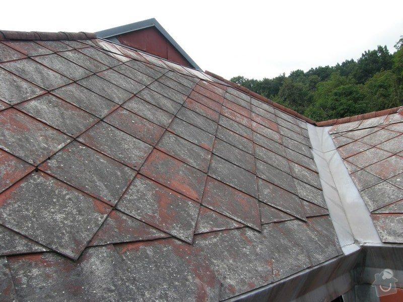 Oprava střechy.Výměnu eternitové krytiny za plastové šablony nebo plech.Opravy krovu a bedění: P8240045