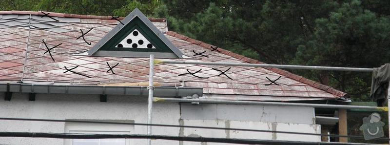 Oprava střechy.Výměnu eternitové krytiny za plastové šablony nebo plech.Opravy krovu a bedění: P8240049
