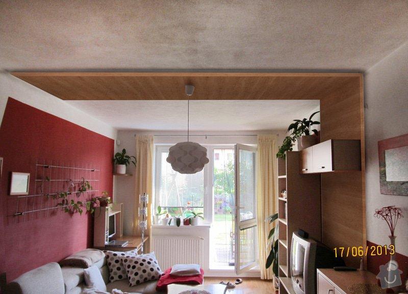 Obklad stěny a stropu lamino deskami: Obyvak