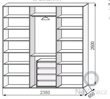 Vestavěná šatní skříň + postel včetně nočních stolků: skrin