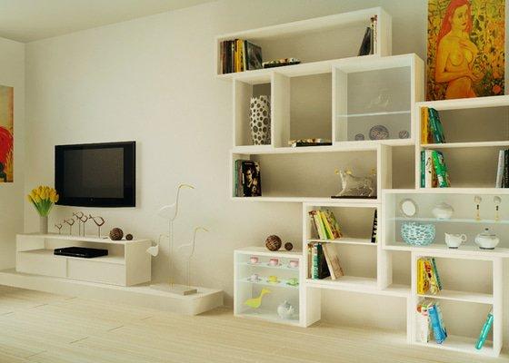 Design obývaciho pokoje - návrh knižnice