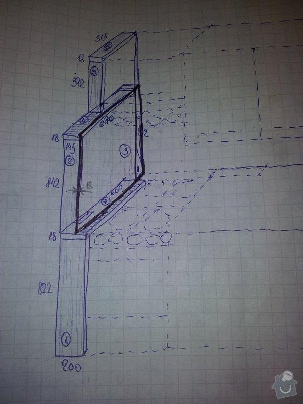 Dodat díly desky v dekoru Wenge k bednění u plynového sporáku: nacrtek