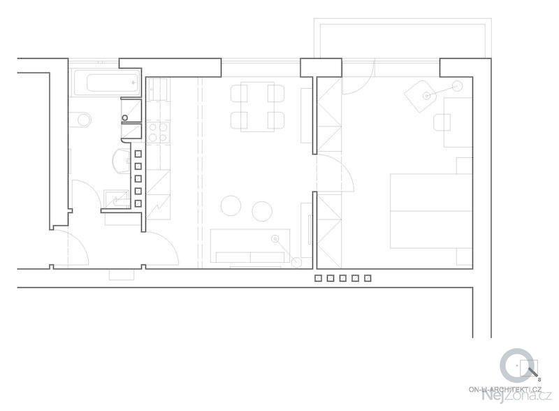Návrh interiéru funkcionalistického bytu : Pudorys