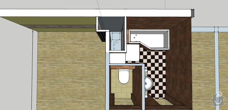 Vodoinstalace pro novou rekonstrukci  koupelny wc a kuchyne: schema