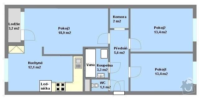 Vyzdění jádra, nová elektroinstalace v celém bytě: obr