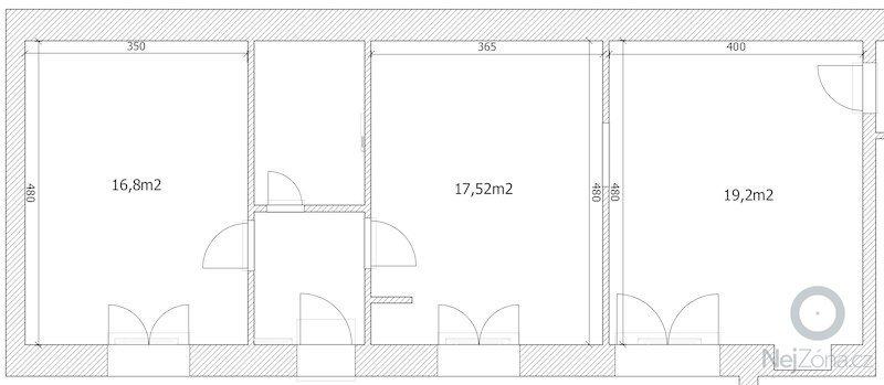 Polozeni plovouci podlahy 54m2: podlahy