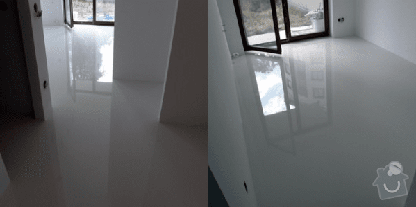 Litá podlaha lesklá bílá, 32m2: vysledna_podlaha