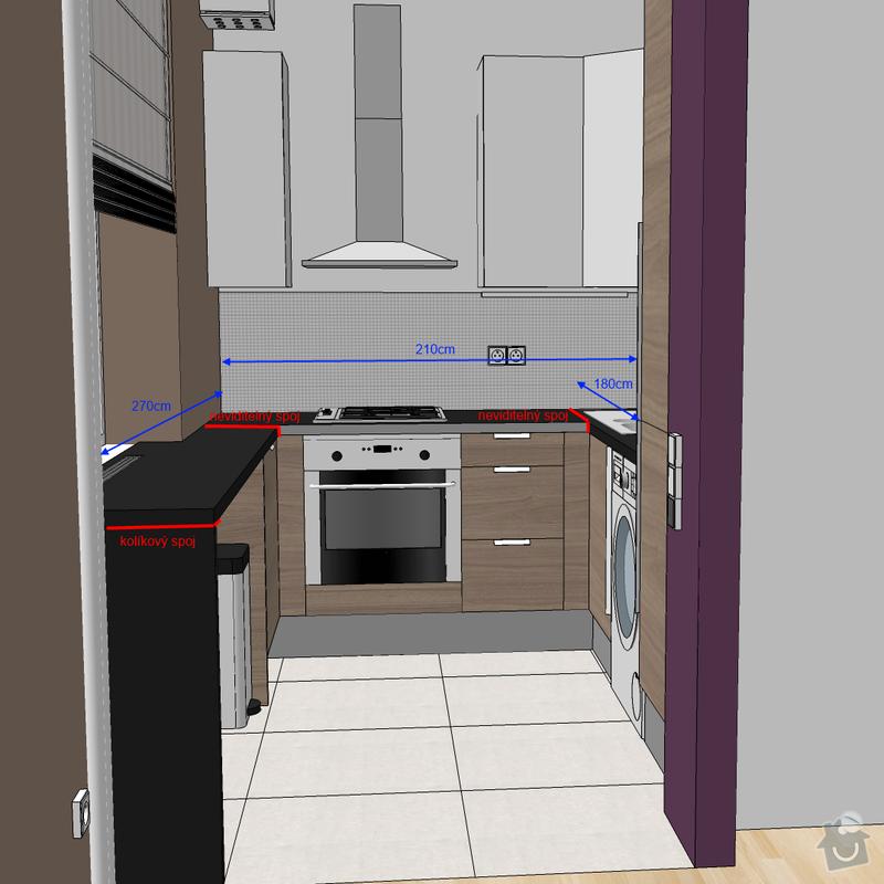 Frézovaný spoj + kolíkový spoj kuch. deska + úprava skříněk IKEA: Kuchyn_popis