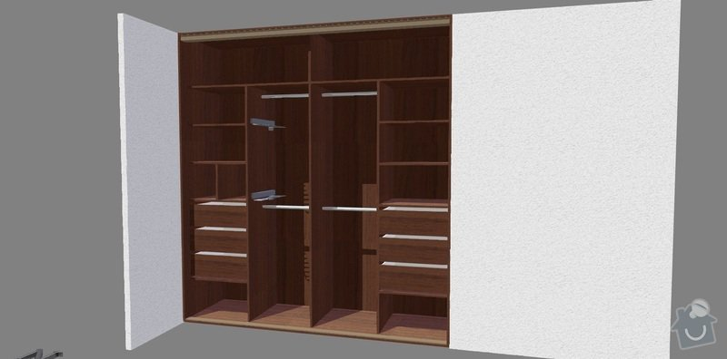 Vestavěné skříně 3x: loznice_zastavba