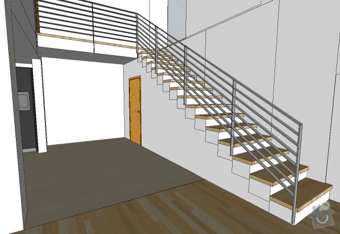 Betonové schodiště + strop + galerie: nahled
