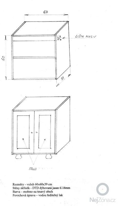 Výroba dvou skříněk na zakázku do stávající stěny podle ostatních skříněk: rozmery
