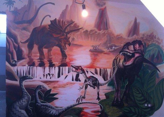 Malba v dětském pokoji - Dinosauři