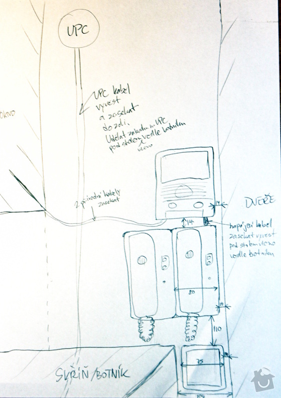 Drobna zednicina a elektro: zapojeni elektronickeho vratneho, protazeni UPC kabelu, natreni futer: 131201_035