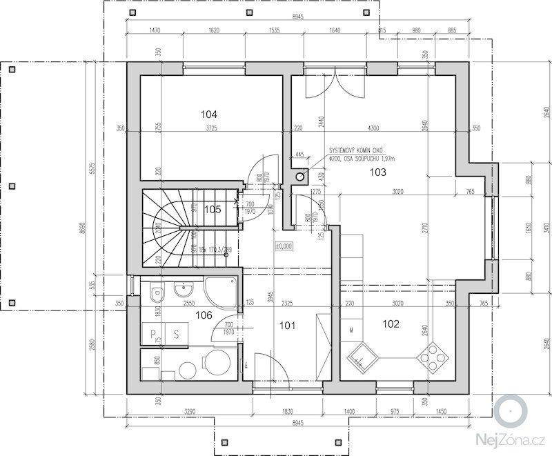 Návrh schodiště: 1np