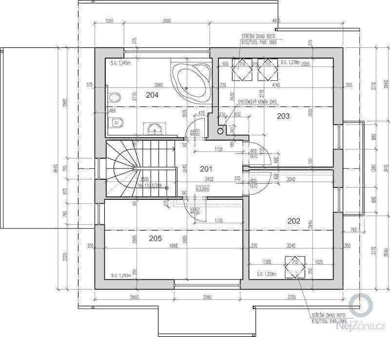 Návrh schodiště: podkrovi