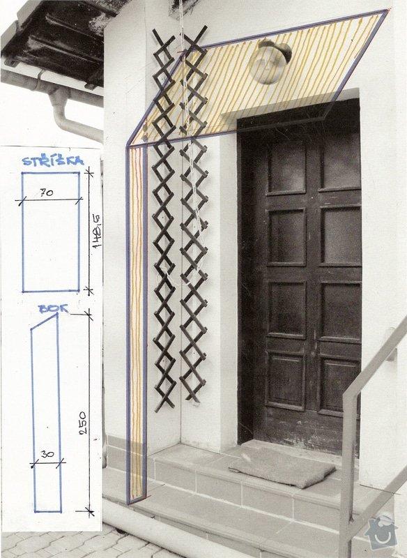Dodávku a montáž vchodové stříšky vč. bočního dílu: striska_nad_vstupem