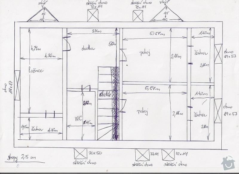 Montáž radiátorů a topných rozvodů do obytného podkroví: nacrtek