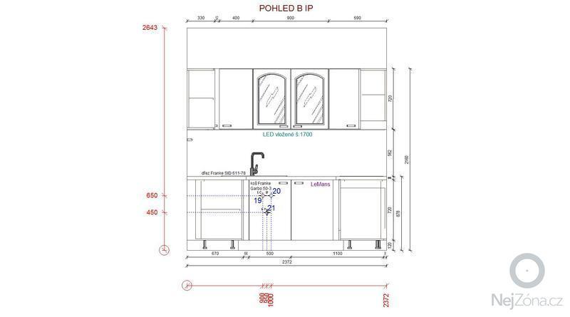 Příprava pro kuchyňskou linku: pohled_B_IP