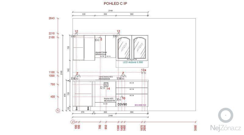 Příprava pro kuchyňskou linku: pohled_C_IP