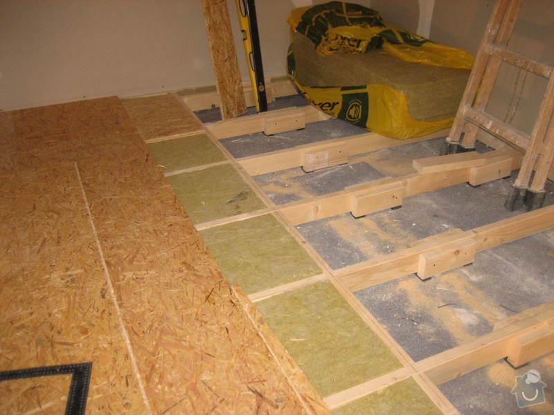 Vybudování konstrukce místnosti ze dřevěných trámů, (akustické příčky), akustická podlaha, sádrokarton.: IMG_0177