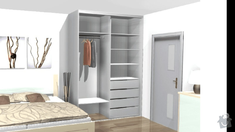 Šatní skříň + šatna: skrin