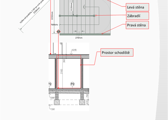Osazení prvků betonového schodiště v novostavbě RD