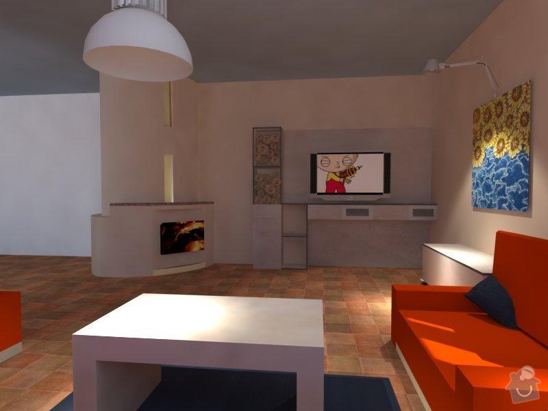 Navázání obývacího pokoje na stávající kuchyň: render
